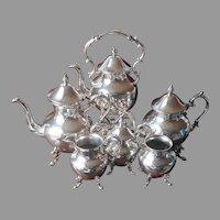 Silver On Copper Coffee Tea Set Tilting Warmer 6 Piece Vintage Birmingham