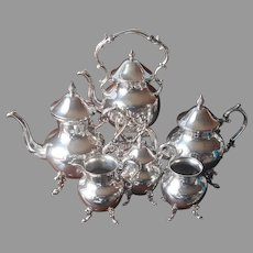 Silver On Copper Coffee Tea Set Tilting Warmer 6 Piece Vintage Birmingham