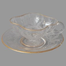 Bohemian Glass Gold Cut Leaves Berries Cup Saucer Antique
