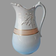 Big Victorian Pitcher From Wash Stand Peach White Gold Ironstone China