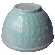 McCoy Aqua Fish Scale Mixing Bowl Vintage Pottery 8 Inch Thick Glaze