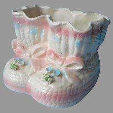 Booties Planter Relpo Vintage Ceramic Pink Bows White Blue