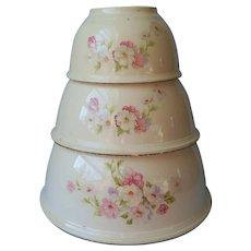 Kitchen Kraft Mixing Bowls Homer Laughlin Fluffy Virginia Rose Vintage Set 3