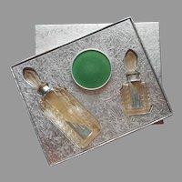 1930s Moderne De Lioret Perfume Bottles Powder Set Vintage Original Box