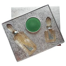 1930s Moderne De Lioret Perfume Bottles Powder Set Vintage Original Box
