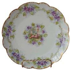Limoges Plate Leopard Skin Rug Lounging Lady Cherub Porcelain Antique Violets