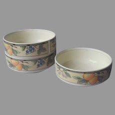 Mikasa Intaglio Garden Harvest 3 Cereal Fruit Bowls 5 Inch