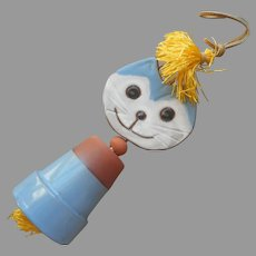 ca 1970 Japan Pottery Cat Hanging Bell Wind Chime Vintage Lego Blue