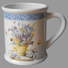 Marjolein Bastin Mug Nature's Sketchbook Spring Flowers Blue Vintage Hallmark