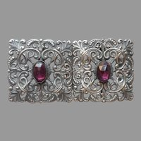 Antique Buckle Silver Tone Filigree Purple Glass Stones Edwardian