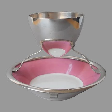 Egg Cup Pink Porcelain Silver Plated Frame Antique English 1900s