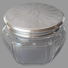 Monogram K Antique Sterling Silver Glass Vanity Jar Powder