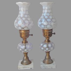 Pair Fenton Lamps French White Opalescent Coin Dot Vintage 1 TLC