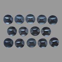14 Art Deco Carved Black Plastic Buttons Set Vintage