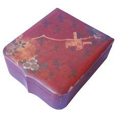 Japanese Lacquer Box Antique Birds Shield Shape