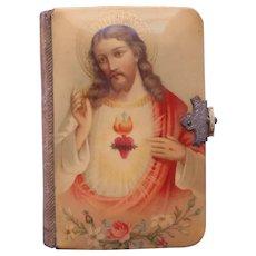 Celluloid Covers Prayer Book Catholic Antique 1911 Miniature Vivid Colors