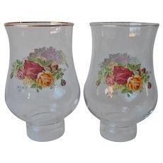 Royal Albert Old Country Roses Hurricane Shades Glass For Candlesticks Lamps