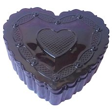 Cape Cod Ruby Red Glass Heart Trinket Box Avon Vintage