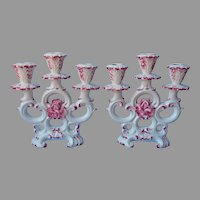 Capodimonte Pair 3 Light Candle Holders Candelabra Pink White Vintage Faience