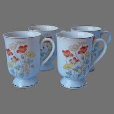 1970s Mugs Fanci Florals Set 4 Japan Painted Poppy Vintage Porcelain