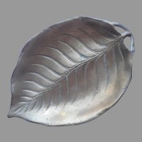 Large Brass Leaf Dish Tray Vintage 10 x 7 Inches