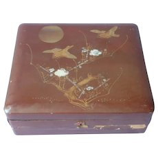Japanese Lacquer Box Birds Abalone Inlay Wood Antique TLC
