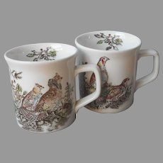 Johnson Brothers Game Birds Pair Mugs Vintage English Ruffed Grouse