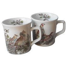 Johnson Brothers Game Birds Pair Mugs Vintage English Ruffed Grouse