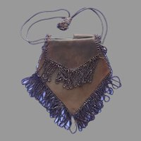 1910s Purse Suede Leather Brown Glass Beads TLC Needed Antique
