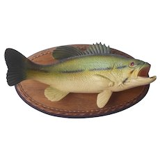 French Plastic Fish Trophy Mounted Perch Vintage Mid Century