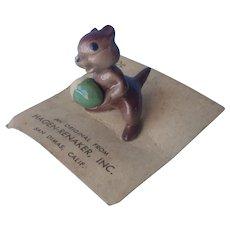Hagen Renaker Tiny Chipmunk Figurine Vintage On Card Porcelain