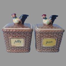Rooster Chicken Jam Jelly Pots Vintage Mid Century Japan Ceramic