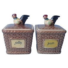Rooster Chicken Jam Jelly Pots Vintage Mid Century Japan Ceramic