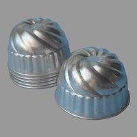 Gelatin Molds Vintage Set 6 Aluminum High Swirl Ice Cream Jello