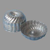 Gelatin Molds Vintage Set 6 Aluminum Swirl Ice Cream Jello
