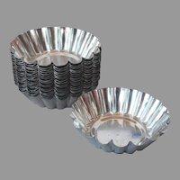 Individual Tart Pan Fluted Molds Tins Vintage European 19 Metal