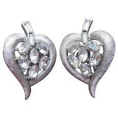 Crown Trifari Clip Earrings Silver Tone Leaf Shape Oval Rhinestones Brushed