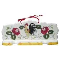 Rooster And Roses Ucagco Utensil Rack Hanging Vintage Provincial