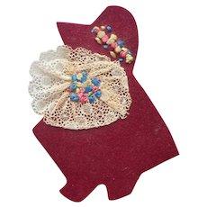 Needle Case Sunbonnet Baby Vintage Felt Lace Hand Embroidery
