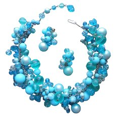 1960s Set Necklace Clip Earrings Loaded Turquoise Blue Beads Glass Plastic