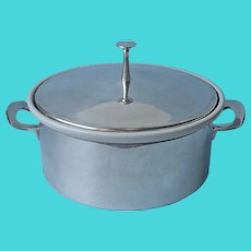 Reed and Barton Casserole Heavy Porcelain Silver Plated Holder Lid