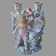 Cherub With Torch Candle Holder Vase Porcelain Vintage Candlestick