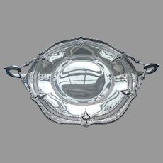1920s Derby Silver Plated Footed Serving Dish Antique Pierced Ornate Handles