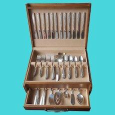 1948 Brittany Rose Silver Plated Flatware Set Service 12 Vintage Box