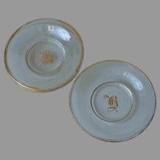Monogram B Bohemian Glass Butter Pats Cup Plates Antique Gold