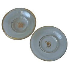 Monogram B Bohemian Glass Butter Pats Cup Plates Antique Gold