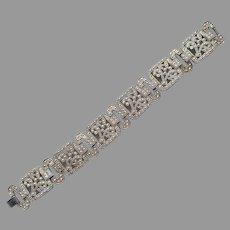 Faux Marcasite Gold Tine Vintage Bracelet Art Deco Revival Unusual