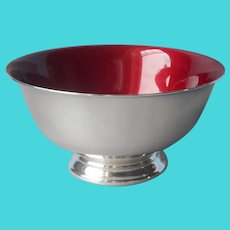 Red Enamel Revere Nut Bowl Silver Plated Reed and Barton Vintage