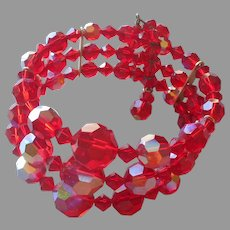 Red AB Crystal Beads Bracelet Vintage 1950s 3 Strand Wrap Cuff On Wire
