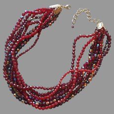 Rich Red Beads Necklace Torsade Glass And Plastic  Vintage